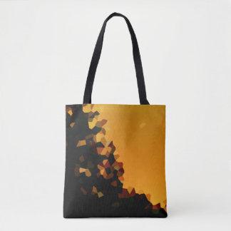 Schwarze und orange Pixel-Mosaik-Form abstrakt Tasche