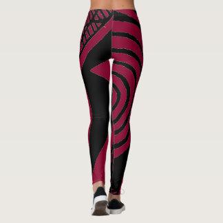 Schwarze und rosa Designer-Gamaschen Leggings