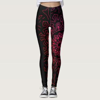 Schwarze und rosa Mandala-Gamaschen Leggings