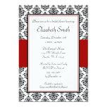 Schwarze und rote Damast-Brautparty-Einladungen