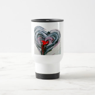 Schwarze und rote Herz-Reise-heiße Tasse