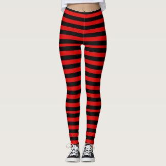 Schwarze und rote Streifen Leggings