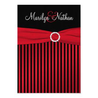 Schwarze und rote Streifen mit weißer Hochzeit 12,7 X 17,8 Cm Einladungskarte