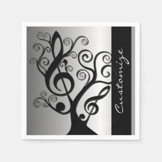 Schwarze und silberne Musikdreifacher Serviette