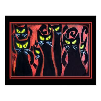 Schwarze verärgerte Katzen Postkarte