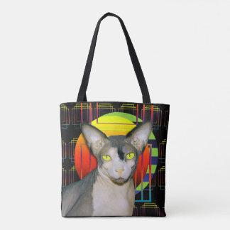 Schwarze verrückte Katze Katzen-Entwurf Sphynx Tasche