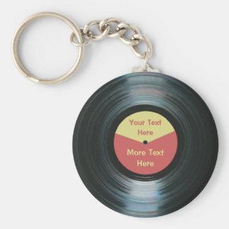 Schwarze Vinylmusik-roter und gelber Standard Runder Schlüsselanhänger