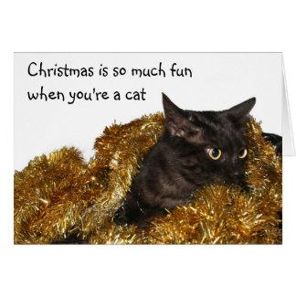 Schwarze Weihnachtskatze Karte