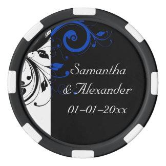 Schwarze/Weiß-/Kobalt-Blau-mutige Strudel-Hochzeit Poker Chips Sets