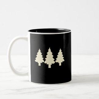 Schwarze/weiße Bäume Zweifarbige Tasse
