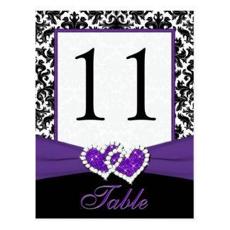 Schwarze, weiße, lila Damast-Tischnummer-Postkarte Postkarten