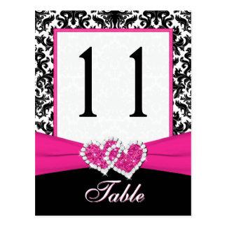 Schwarze weiße rosa Damast-Tischnummer-Postkarte