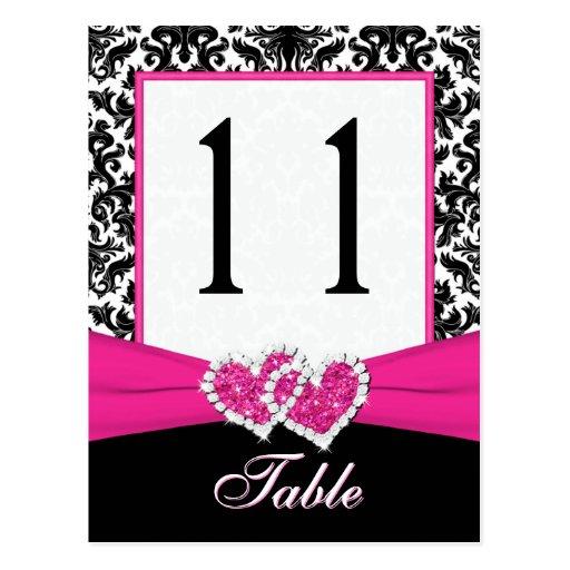Schwarze, weiße, rosa Damast-Tischnummer-Postkarte