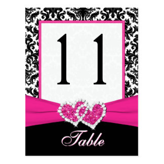 Schwarze, weiße, rosa Damast-Tischnummer-Postkarte Postkarten