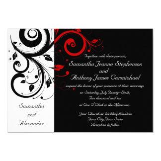 Schwarze/weiße/rote 12,7 X 17,8 Cm Einladungskarte