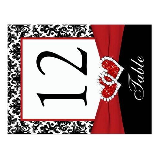 Schwarze, weiße, rote Damast-Tischnummer-Postkarte