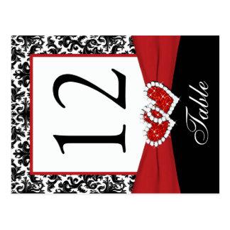 Schwarze, weiße, rote Damast-Tischnummer-Postkarte Postkarten