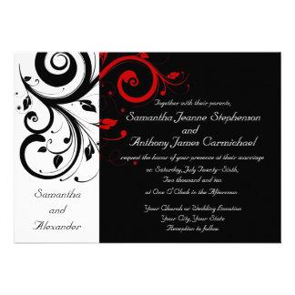 Schwarze/weiße/rote Personalisierte Ankündigungskarten