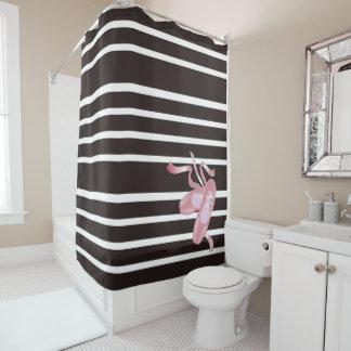 Schwarze/weiße Streifen, rosa Ballett-Schuhe, Band Duschvorhang
