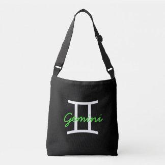 Schwarze, weiße und Limone grüne Zwillings-Tasche Tragetaschen Mit Langen Trägern
