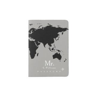 schwarze Weltkarte auf Grau mit Herrn Name Passhülle