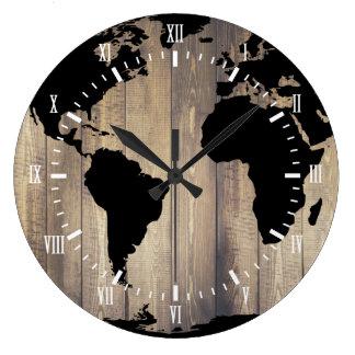 Schwarze Weltkarte-hölzerne Planken-Weiß-Ziffern Große Wanduhr