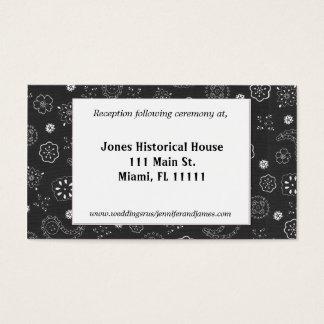 Schwarze Western-Hochzeits-Empfangs-Karten Visitenkarte