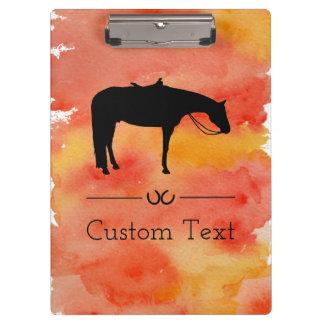 Schwarze Western-PferdeSilhouette auf Watercolor Klemmbrett