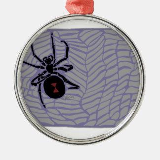Schwarze Witwen-Spinne Rundes Silberfarbenes Ornament