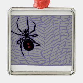 Schwarze Witwen-Spinne Silbernes Ornament