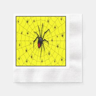 Schwarze Witwen-Spinne und Babys - Papierserviette