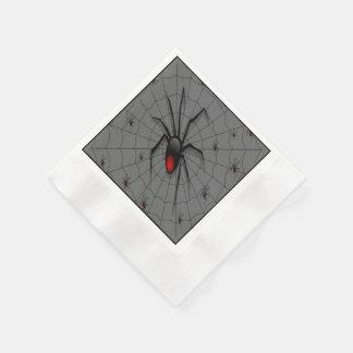 Schwarze Witwen-Spinne und Babys - Serviette