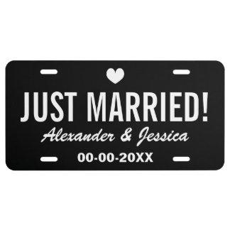 Schwärzen Sie gerade verheiratete Lizenzplatte für US Nummernschild