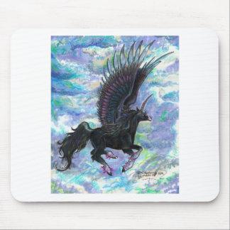 Schwärzen Sie Winged Einhorn-Fliegen-Pferd, Pony, Mousepad