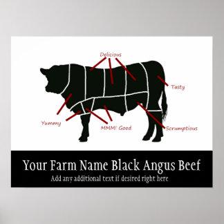 Schwarzer Angus-Rindfleisch-Bauernhof-lustige Metz Poster