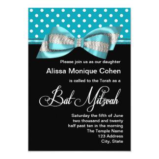 Schwarzer aquamariner blauer Polka-Punkt-Schläger 12,7 X 17,8 Cm Einladungskarte