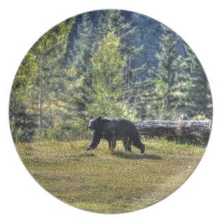Schwarzer Bär, der eine Ranch-Weide kreuzt Melaminteller