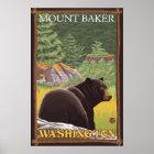 Schwarzer Bär im Wald - Berg-Bäcker, Washington Poster