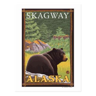 Schwarzer Bär im Wald - Skagway, Alaska Postkarte