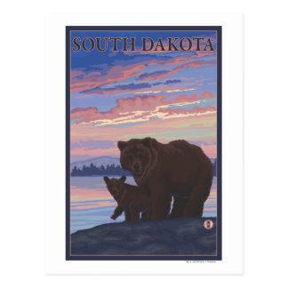 Schwarzer Bär und CubSouth Dakota Postkarte