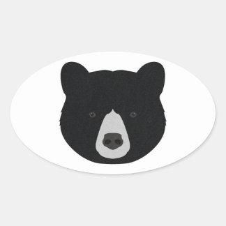 Schwarzer Bärn-Gesicht Ovaler Aufkleber