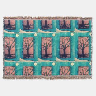 Schwarzer Baum-Wurf Decke