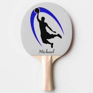 Schwarzer blauer Basketball-Spieler personalisiert Tischtennis Schläger