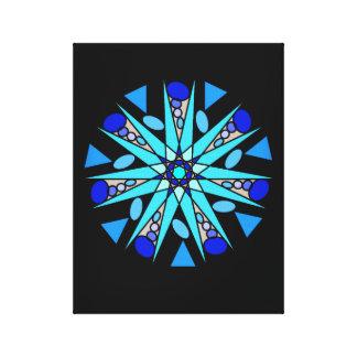 Schwarzer blauer kosmischer geometrischer leinwanddruck