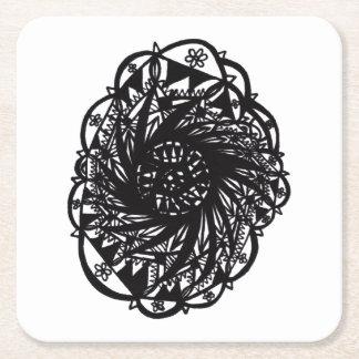 Schwarzer BlumeMandala Rechteckiger Pappuntersetzer