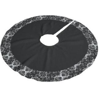 Schwarzer Blumendamast-Weihnachtsbaum-Rock Polyester Weihnachtsbaumdecke