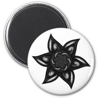 Schwarzer BlumenKühlschrankmagnet Runder Magnet 5,1 Cm