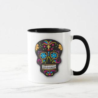 Schwarzer bunter mexikanischer Zuckerschädel-Tag Tasse