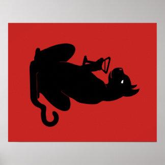 SCHWARZER CAT-COCKTAIL durch Slipperywindow Poster