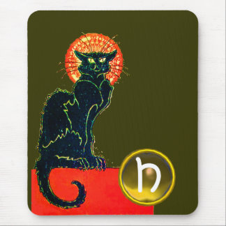 SCHWARZER CAT-HALLOWEEN-PARTY-MONOGRAMM MAUSPADS